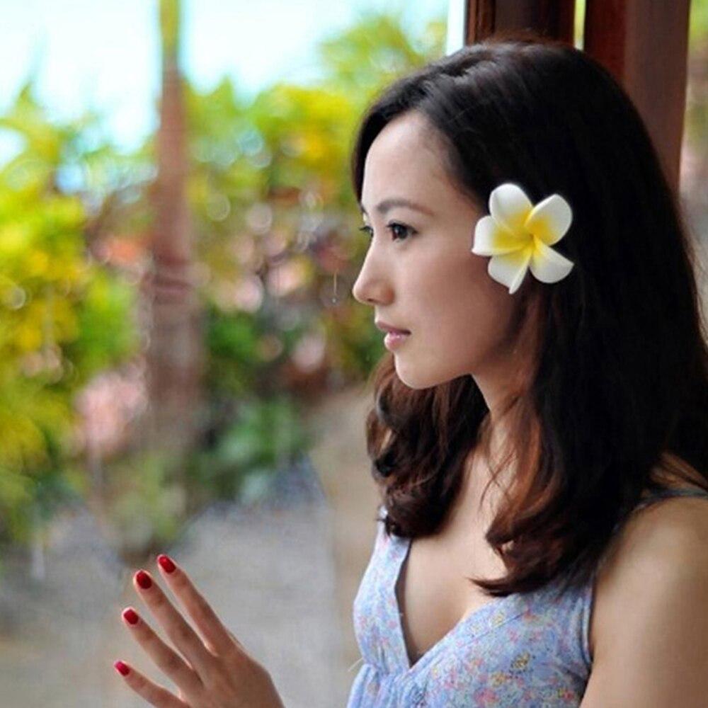 6 Pcs Flower Hair Clip Bridal Party   headwear   Women Yellow Hawaiian Plumeria Hairpin Bohemia Beach hair claws art design