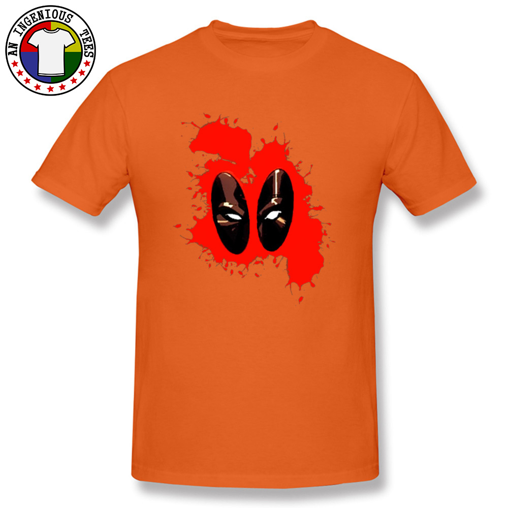 Deadpool Splattered 1226 Male Slim Fit Normal Tops Shirts Round Collar Fall 100% Cotton Tshirts Gift Short Sleeve Tee Shirts Deadpool Splattered 1226 orange