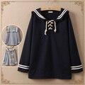 Мори девушки Японский стиль с длинным рукавом сейлор воротник полосой футболка женщины пуловер женский осень весна флот футболка топ