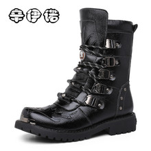 Fashion Cowhide Genuine Leather Military Uniform Boots Gothic Skull Punk Martin Platform Mid-calf Boots Steampunk Shoes 38-44