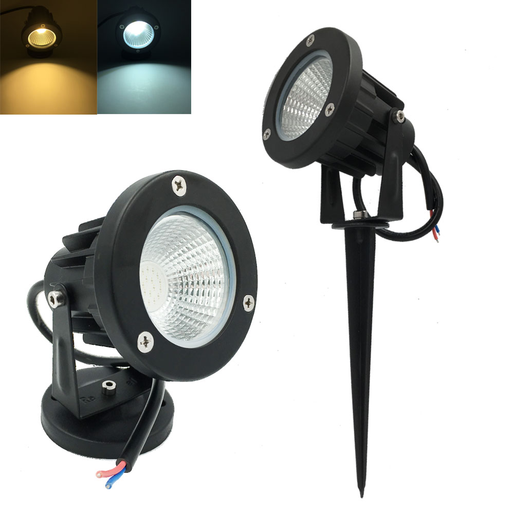 1x COB 3W 5W 7W 9W LED Garden Light Outdoor IP65 Lawn Lamp with Base or Spike LED Landsc ...
