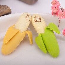 2pcs Cute Banana-shaped Pencil Eraser Rubber Novelty Kids School Stationery Gift