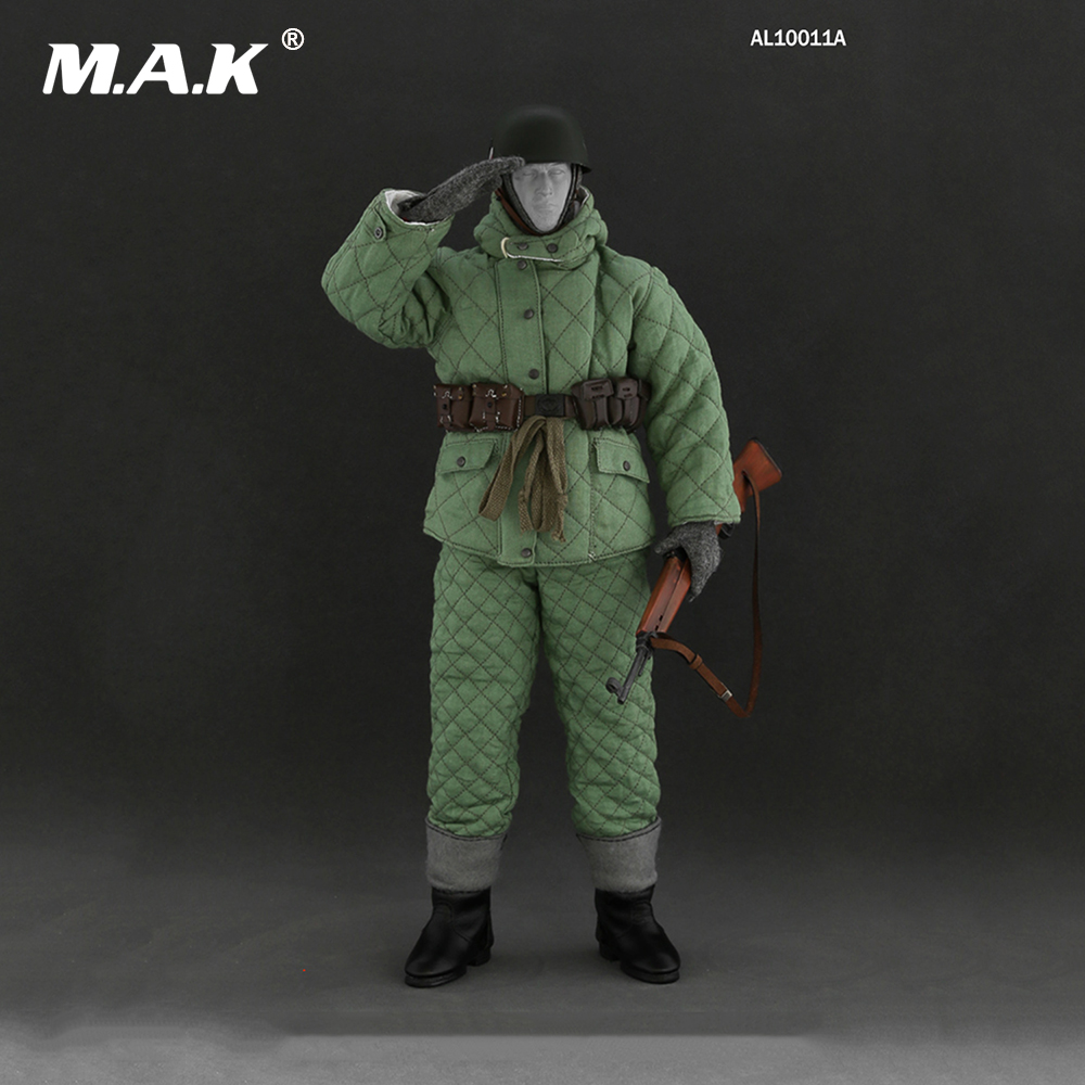 1/6 The WWII Winter Soviet Soldier Clothing Uniforms and Weapon Modeks Set for 12 inches Male Figures Bodies world war ii german wwii wehrmacht officer 1 6 soldier set model stanford erich vo gm637 for gift collection
