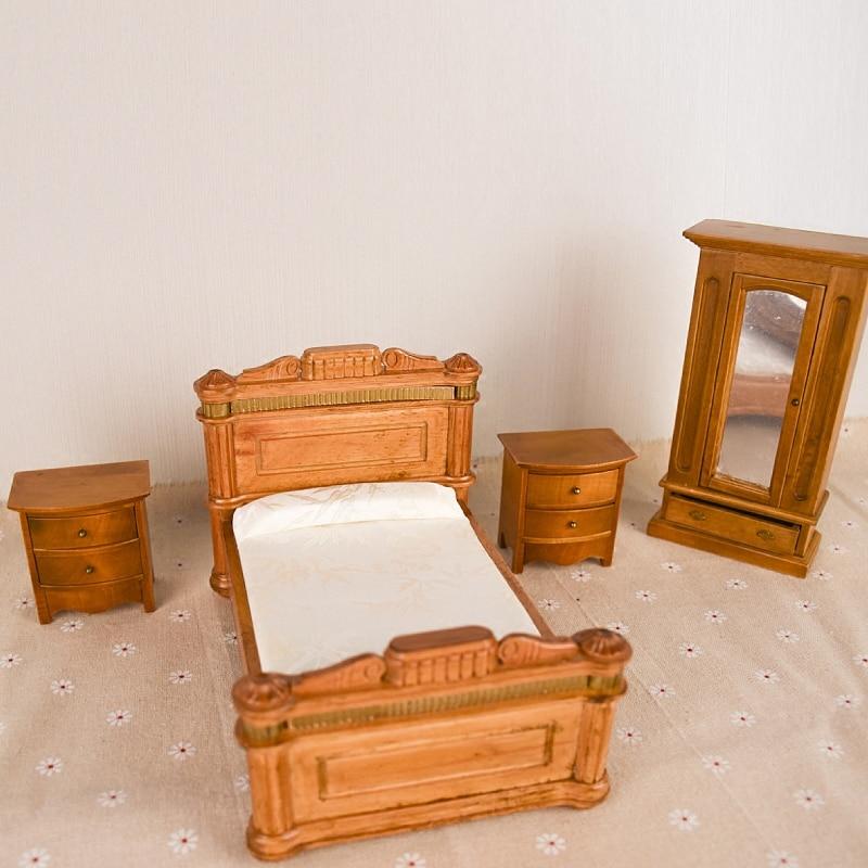 Doub K 1:12 maison de poupée meubles jouet en bois simulation lit Miniature armoire armoire semblant jouer jouets pour filles poupées cadeaux