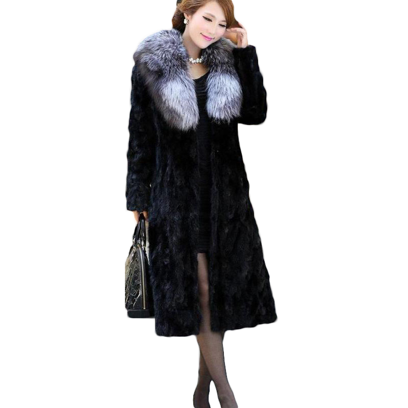 7XL 8XL 2019 Plus Size Winter Women s Jackets Spliced Imitation Mink Fur Coat Fox Fur