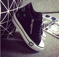 2015 nueva versión Coreana de zapatos de lona Ocio zapatos Bajos para ayudar a botas de fondo grueso zapatos de lona de las mujeres dentro de la superior