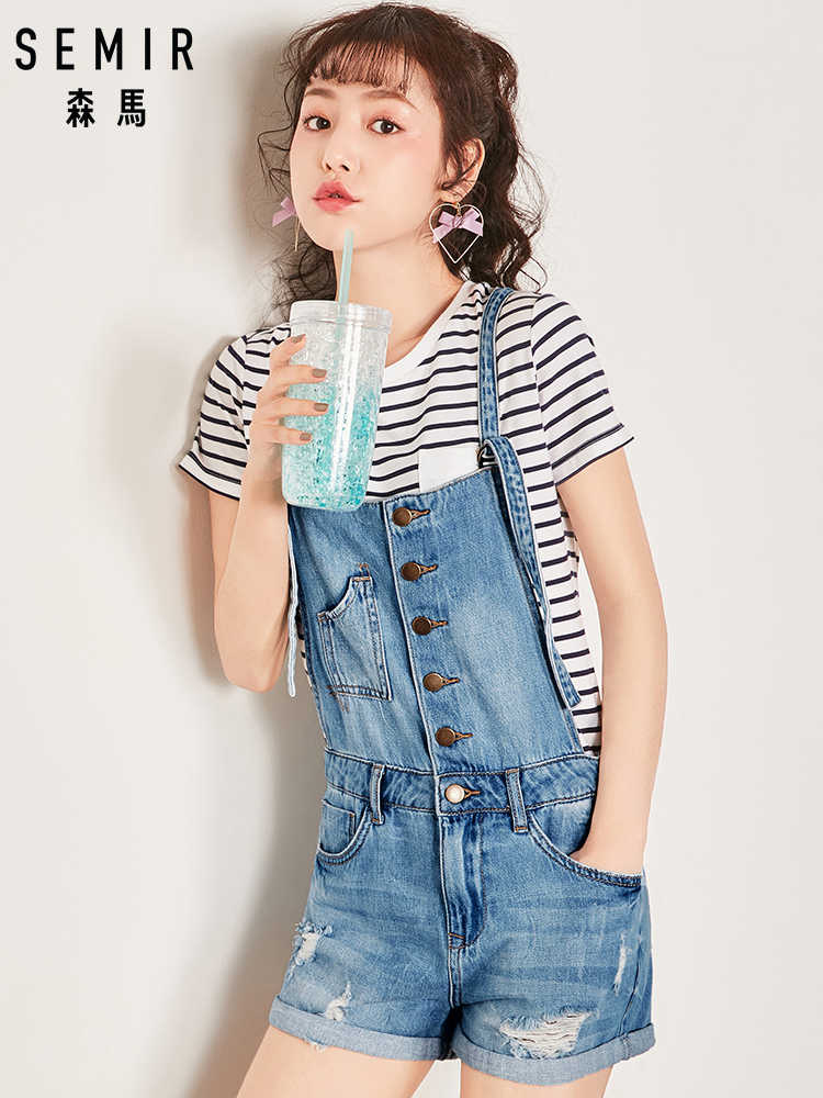 1d81b7d87c5 SEMIR Women Denim Jumpsuit 2019 Ladies Loose Jeans Rompers Female Casual  Plus Size Hole Denim Overall