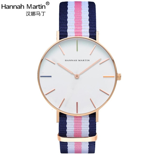 Hannah Martin Luxury Brand Watches Men Women Quartz Watch Nylon leather RoseGold Silver Clock Relojes Mujer Montre Femme Horloge starry sky space watch little star silicone watches kids sport quartz watch luxury brand hot boys girls watches relojes mujer