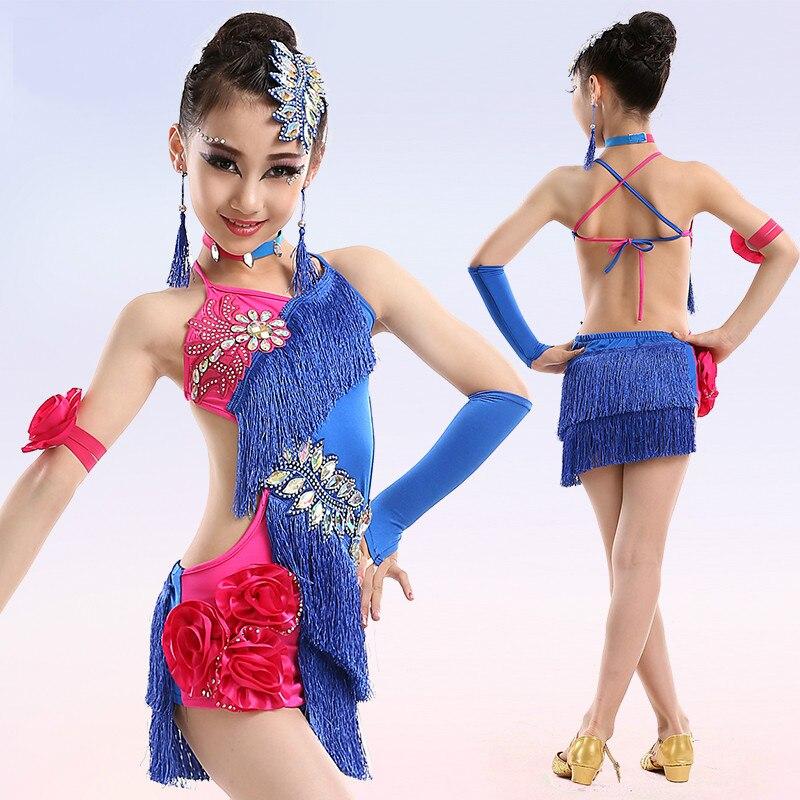 Children Colorful Latin Dance Dress For Girls Fringe Costumes For Kids Modern Junior Tassel Ballroom Salsa Samba Tango Clothes