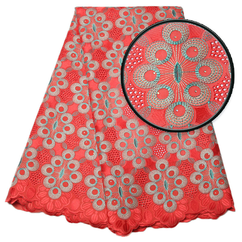 Hot Sale African Lace Fabric Swiss Voile Lace In Switzerland High Quality 2019 Embroidered Cotton With Stones Ks1174B