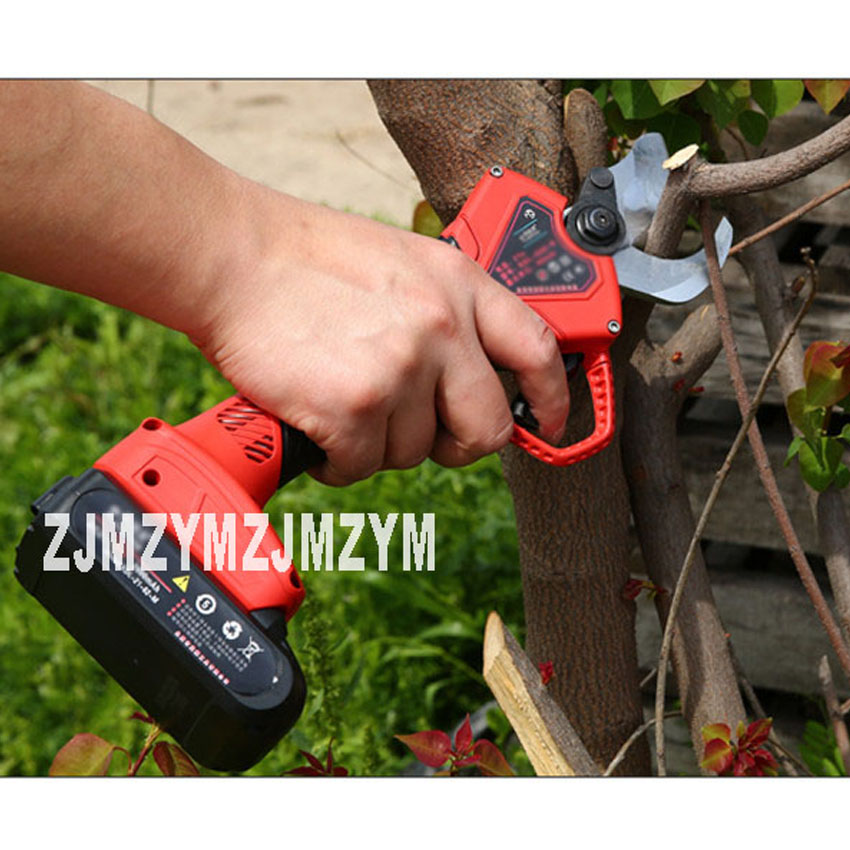 New Arrival 21V Wireless Rechargeable Electric Pruning Shear Fruit Tree Pruning Shear 3cm Branches Scissors With Two Batteries цены