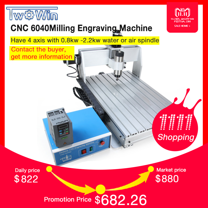 800W CNC 6040 Three-axis CNC Router Engraver Engraving Milling Drilling Cutting Machine +Control box+Inverter 2017 sale cnc router machine wood lathe new 6040 1500w 4 axis router engraver engraving drilling and milling machine 220v ac