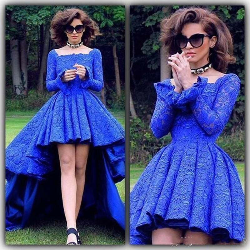 Buy royal blue high low evening dress for Long sleeve high low wedding dresses