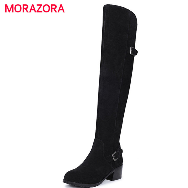 MORAZORA big size round toe high heel over the knee boots square heel cow suede leather boots autumn winter short plush bootsMORAZORA big size round toe high heel over the knee boots square heel cow suede leather boots autumn winter short plush boots