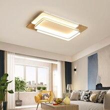 Modern LED chandelier for Living room bedroom Rectangle aluminum wood ceiling Fixture