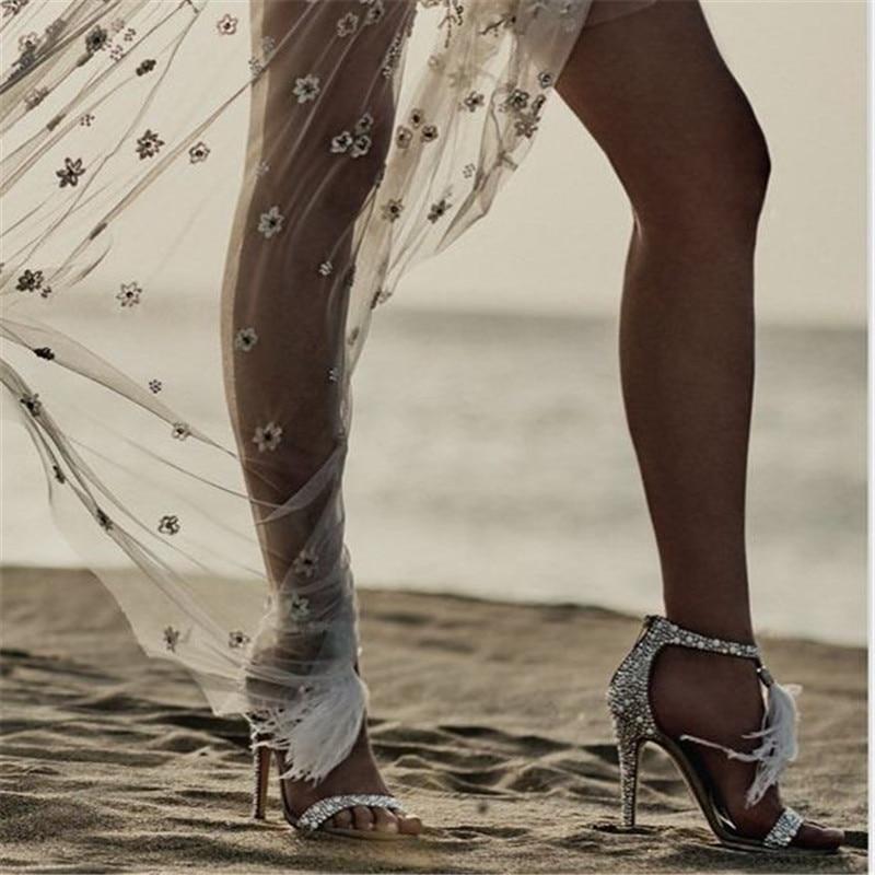 Mode Femme Feminino Été Talon Toe Mince Couverture De Parti Chaussures Nouvelle Cristal Fourrure Gladiateur 1 Peep Sandalias Sandales aqna8RO