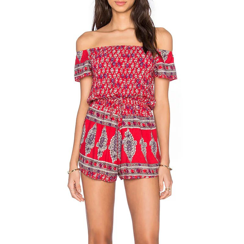 Flectit 2020 Summer Sexy Off Shoulder Short Playsuit Kaleidoscope Tribal Printed Jumpsuit Women Outfits Overalls Combishort