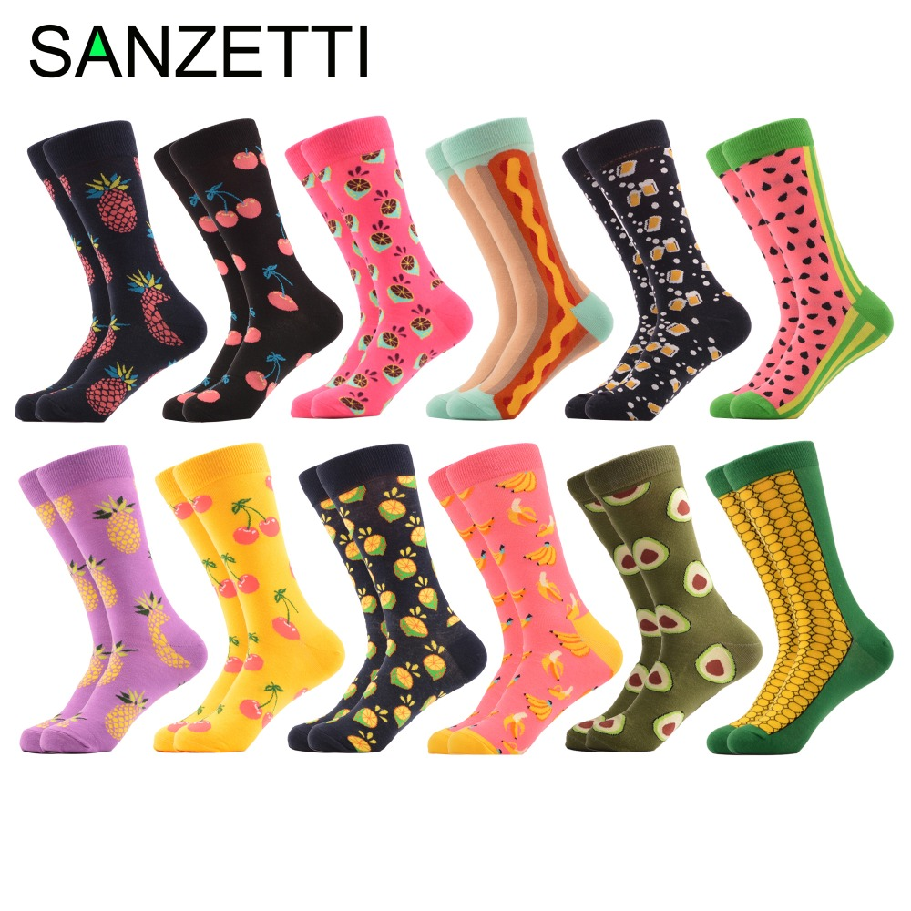 SANZETTI 12 pairs/lot Colorful Combed Cotton Fashion Mens Crew Socks Strawberry Egg Pattern Funny Dress Causal Wedding Socks