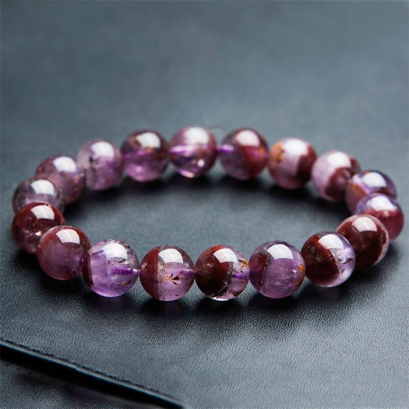 100% натуральный камень ауральит 23 фиолетовый красный, прозрачный 12 мм круглая прозрачная бусина браслет для женщин - 6