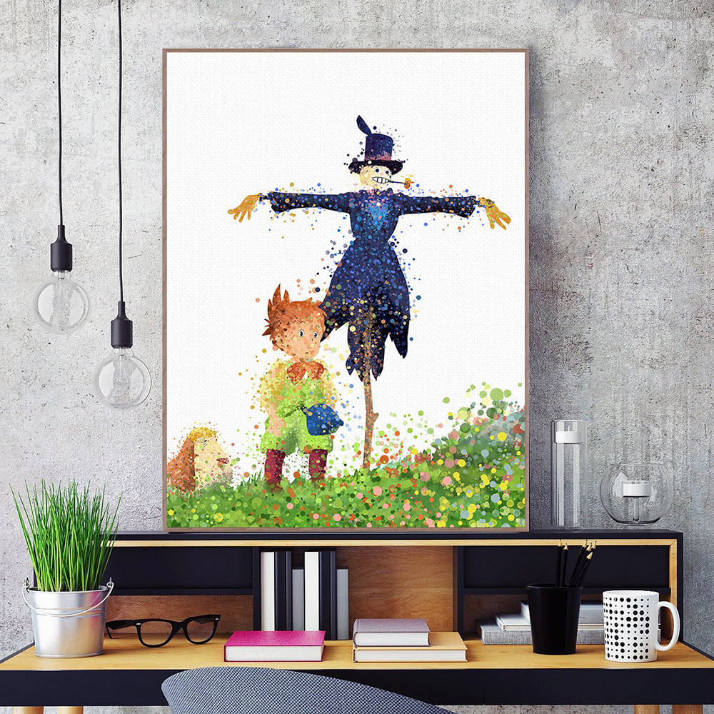 watercolor howls moving castle friend miyazaki anime canvas poster wall picture kids room decor painting no frame