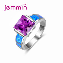 Jemmin Blue Fire Opal Ring with Big Purple Crystal Stone for Women $ Girls Gift Fashion 925 Silver Color Fine Jewelry