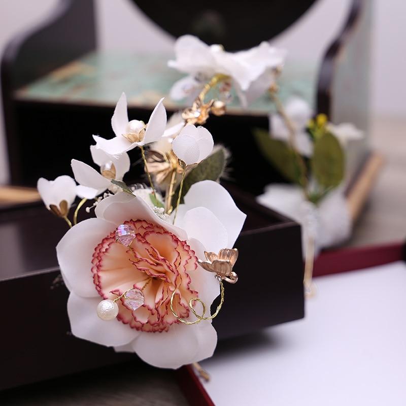 The Bride Take Ring Hoop Head Head Head Flower Powder Color Handmade Jewelry Wholesale Wedding Wedding