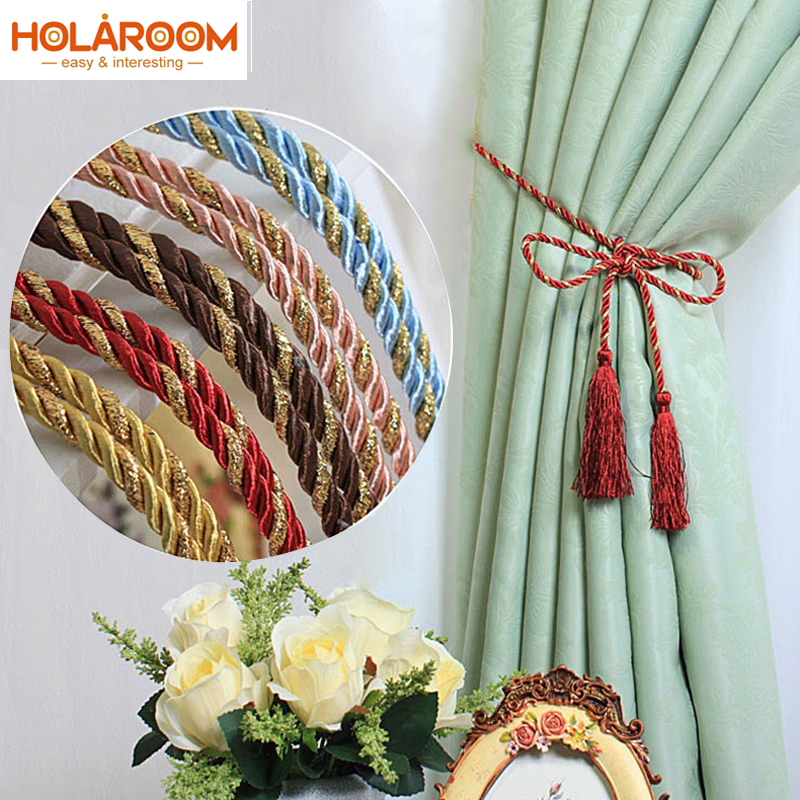 1 Pair bowknot Rope Curtains tieback Colorful Cotton Rope House Tassel Crystal Bead Window Curtains Decor