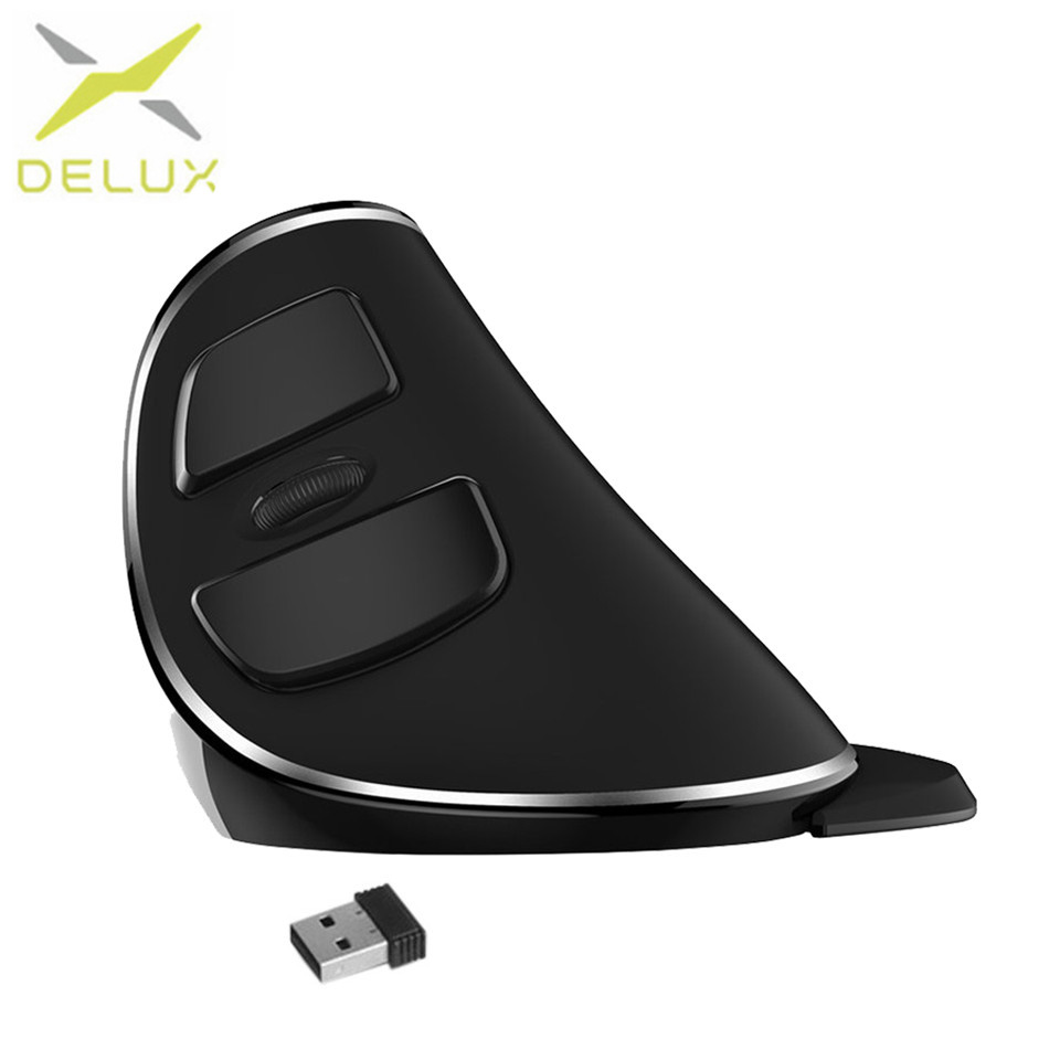Delux M618 PLUS usb mouse optical Wireless Vertical Portable Size Ergonomic Design Wireless Mouse 1600 DPI Mouse For PC Computer delux m618 wireless mouse 800 1200 1600 dpi vertical mouse optical grab handle grip mause ergonomic usb computer mice 2 4ghz
