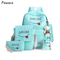 New Fashion Canvas Student Backpack Female Smile Printed 6pc/set School Notebook bags Casual Travel Backpack