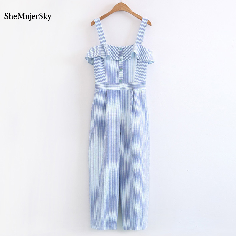 SheMujerSky Rompers Womens   Jumpsuit   Strap Off Shoulder Ruffles Striped   Jumpsuits   For Women 2017