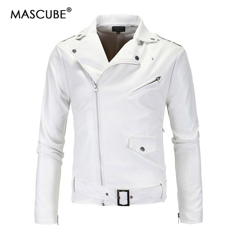 MASCUBE Mens White Color Lether Jackets Coat Autumn