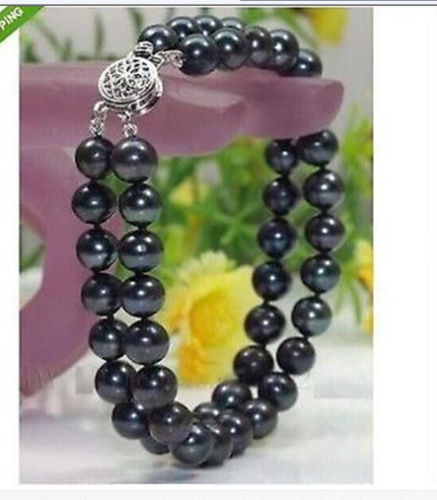 Double Strands 8-9mm Tahitian Black Round Pearl Bracelet 7.5-8inchDouble Strands 8-9mm Tahitian Black Round Pearl Bracelet 7.5-8inch
