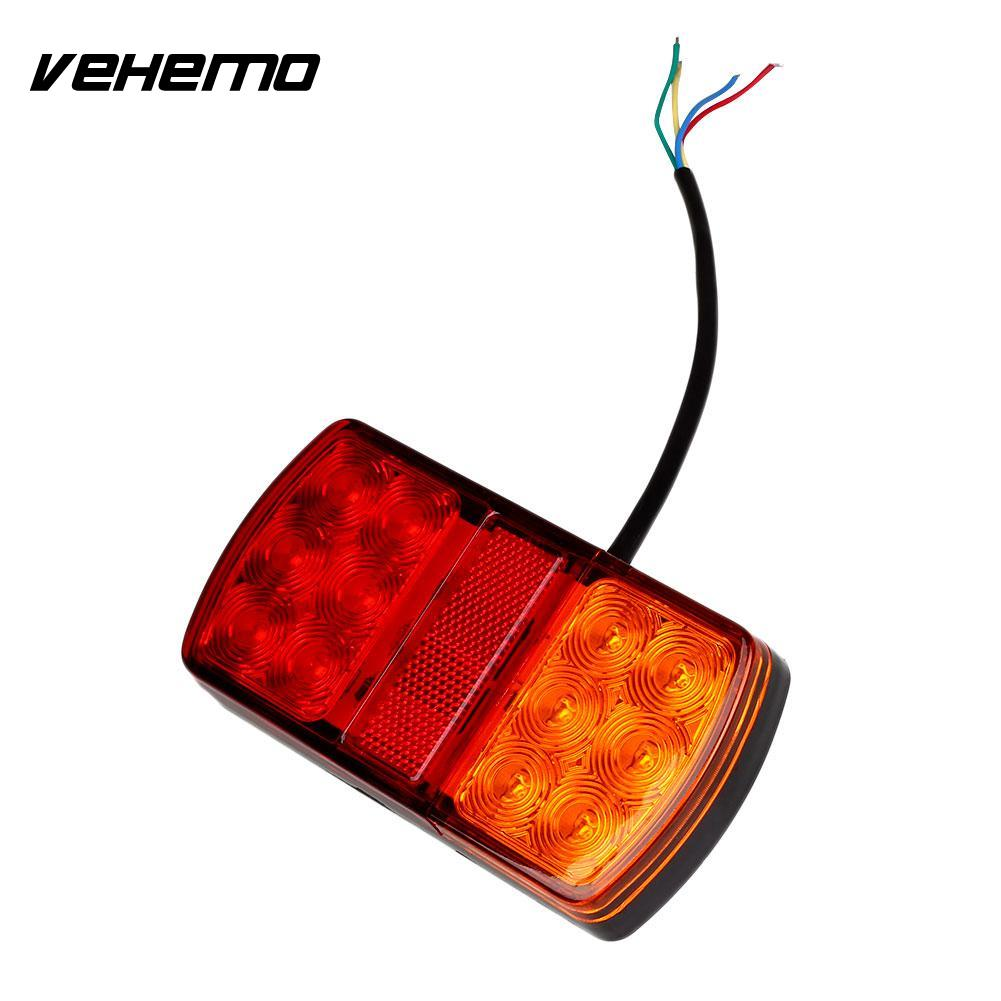 Vehemo 12V 12 LED Trailer Truck Rear Tail Lights Indicator Lamp Caravan Lorry Van 30 led trailer truck stop rear tail light indicator lamp caravan lorry car boat van w bracket