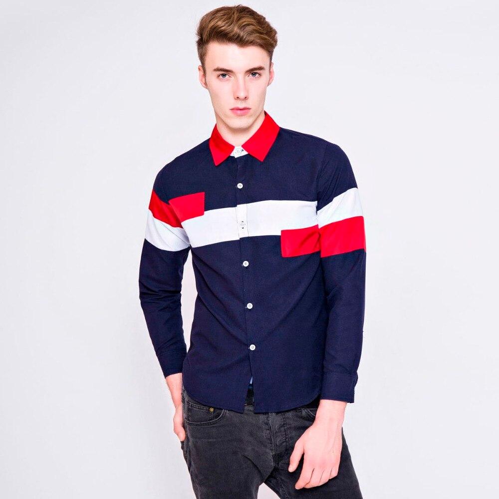 Shirt design for man 2016 - 2016 New Fashion Men Cotton Dress Shirts Long Sleeve Business Shirt Slim Casual Splicing Famous Brand Designer Shirts For Man