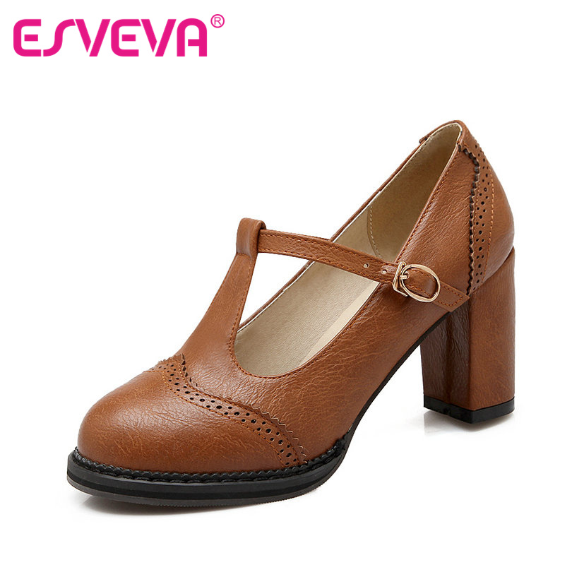 ESVEVA College Style Square High Heels Lace Women Pumps Round Toe Buckle Strap Autumn/Spring Lady Party Shoes Size 34-43 Black xexy small square toe medium heels natural leather women shoe spring autumn buckle strap dance party sweet platform women pumps