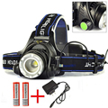 T6 Headlamp 2000Lumen Zoomable CREE XML LED Headlight Rechargeable Head light lamp Flashlight Torch +18650 battery + AC Charger