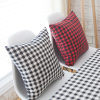 Nordic Black and White Plaid Cushion Cover Linen Cotton Throw Pillow Case Red and Black Stripe Design Pillowcase for Home Chair