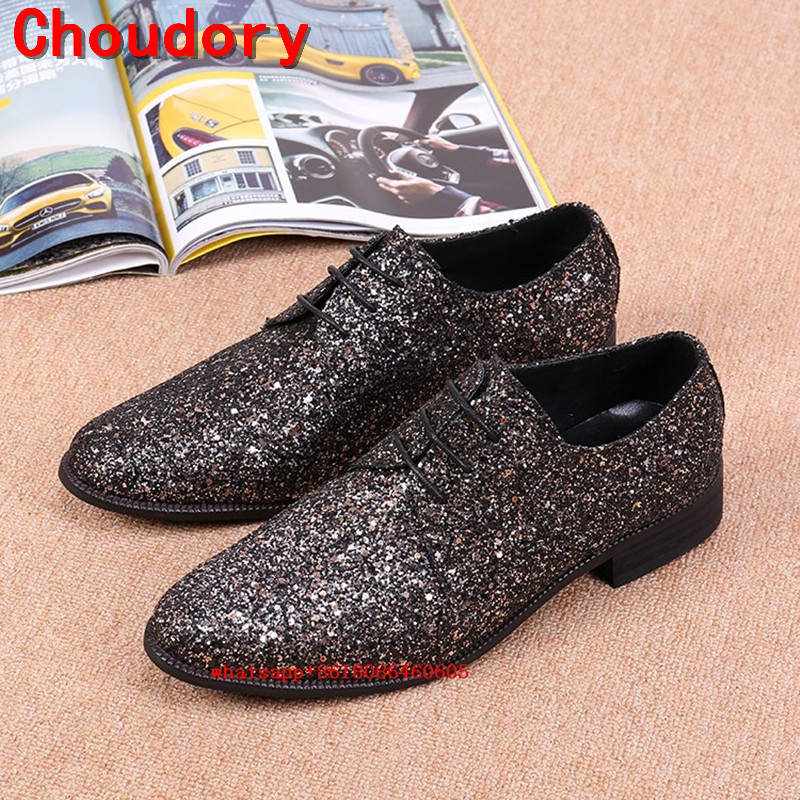 Chaussure homme Italian Mens Dress shoes brogue wedding formal shoes glitter mens loafers leather lace up men velvet shoes