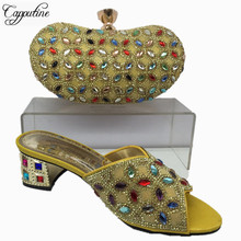 Capputine Latest African Woman Shoes And Bag Set Summer Low Heels Shoes And Matching Bag Set