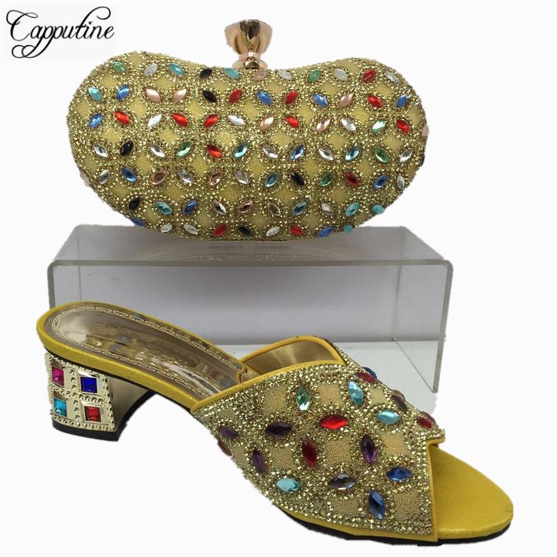 Capputine Latest African Woman font b Shoes b font And Bag Set Summer Low Heels font