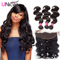 Brazilian Body Wave Frontal with Bundles 7A Ear to Ear Lace Frontal with Bundles Full Frontal Lace Closure 13x4 with Bundles