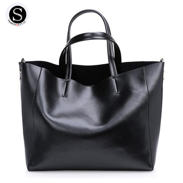 Senkey Style Genuine Leather Bags For Women Shoulder Bags Big Bucket 2017 Luxury Famous Brands Hand Bag Designer High Quality