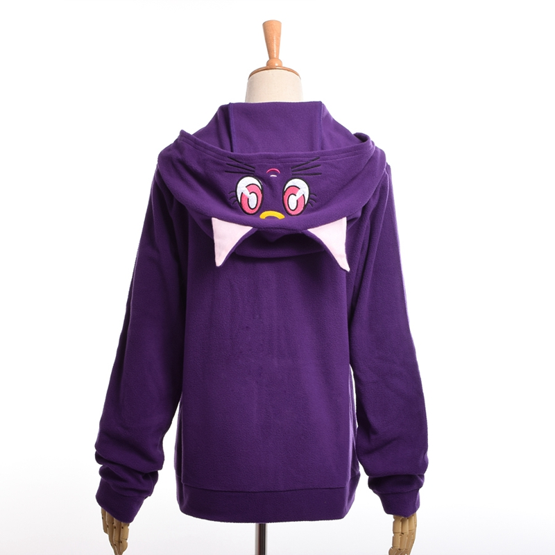 Anime Sailor Moon Hoodie Kvinnor Cartoon Casual Luna Cat Ears Hooded Fleece Coat Zipper Sweatshirt Jacka Outwear Vit / Lila