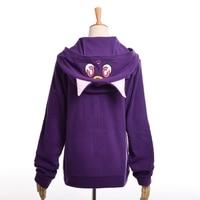 Anime Sailor Moon Hoodie Women Cartoon Casual Luna Cat Ears Hooded Fleece Coat Zipper Sweatshirt Jacket Outwear White/Purple