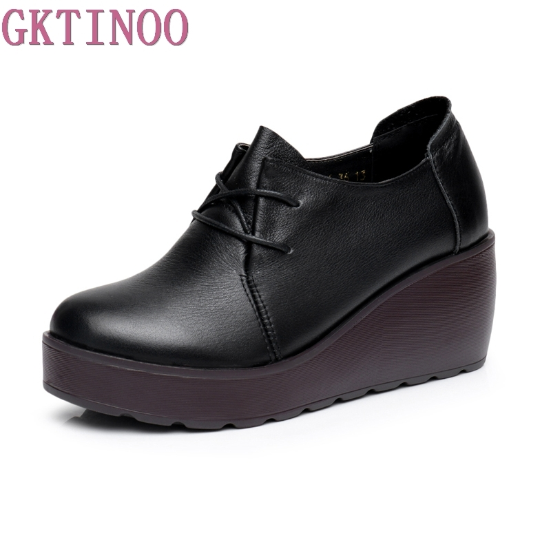 GKTINOO Spring Autumn Shoes Women Genuine Leather Breathable Pumps Wedges High Heels Shoes Fashion Platform Women Pumps free shipping candy color women garden shoes breathable women beach shoes hsa21