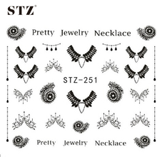Sticker Nail Art Decals Black Necklace Jewelry Design Fashion