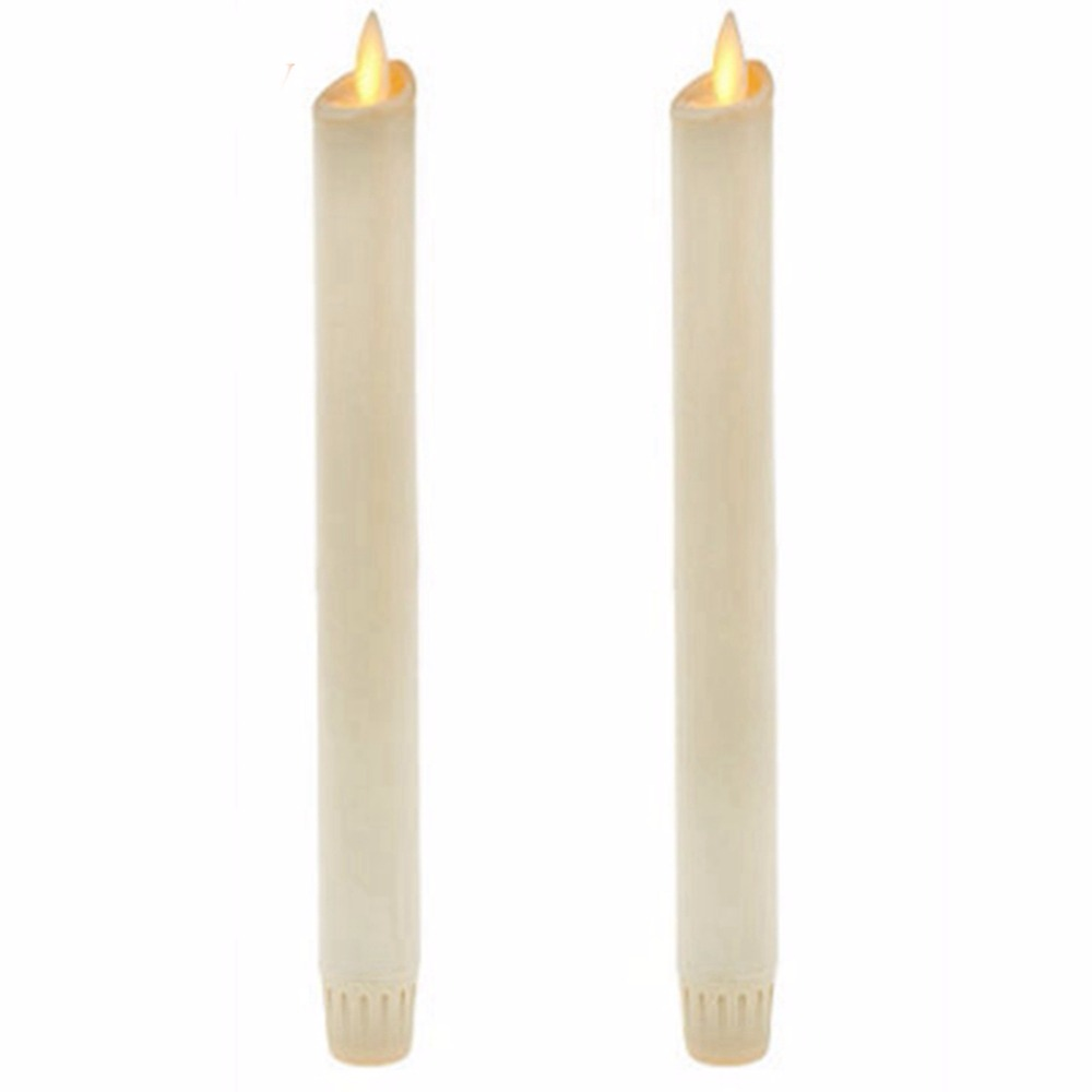 """Ksperway 8"""" Set of 2 Ivory Unscented Wax Flameless Taper Candles, Battery Operated,Moving Wick,LED Candle with Timer and Remote"""