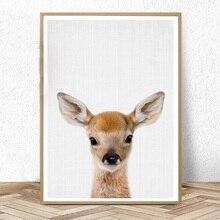 Deer Print Woodland Animals Nursery Wall Art Decor Baby Shower Gift Girl Boy Large Posters Painting Bedroom