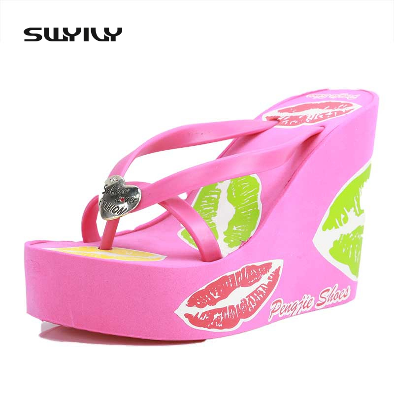 Wedges Platform Shoes Women Lips Print High Heels Foam Slippers Female Summer Flip Flops Beach Sandals Comfortable Zapatos Mujer
