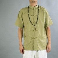 Изменение наряд рукава летние двубортные мужские футболки с коротким рукавом качество льна свободные куртка кардиган Китайский ветер